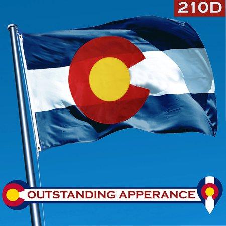 G128 Colorado State Flag 210D Oxford Nylon 3x5 ft EMBROIDERED Brass Grommets Flag - Colorado State Nylon Flag