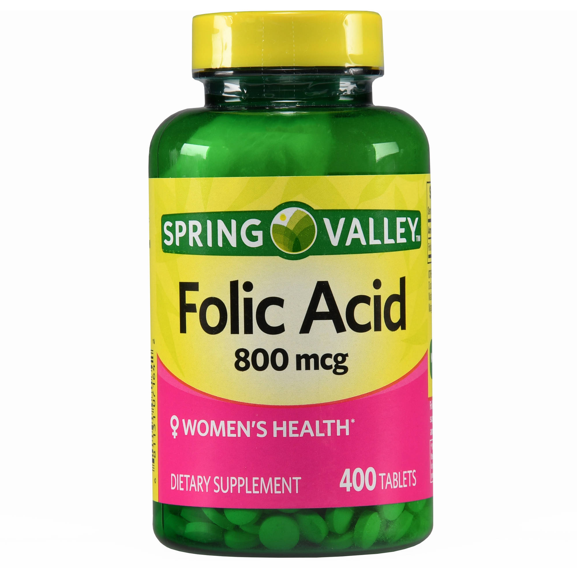 Spring Valley Folic Acid Dietary Supplement Tablets, 800 mcg, 400 count
