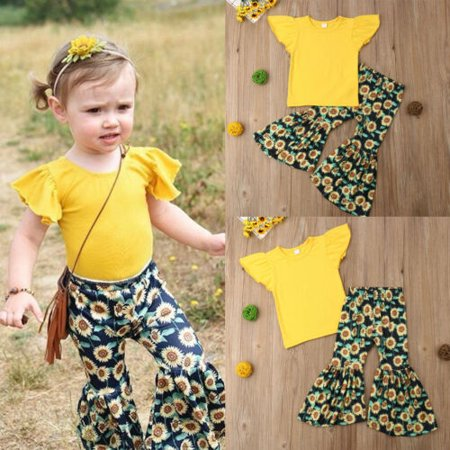 Hot Infant Kids Baby Girls T Shirt Top+ Long Bell-bottom Pants Outfits Set 1-6 Y Hot Childrens Clothing
