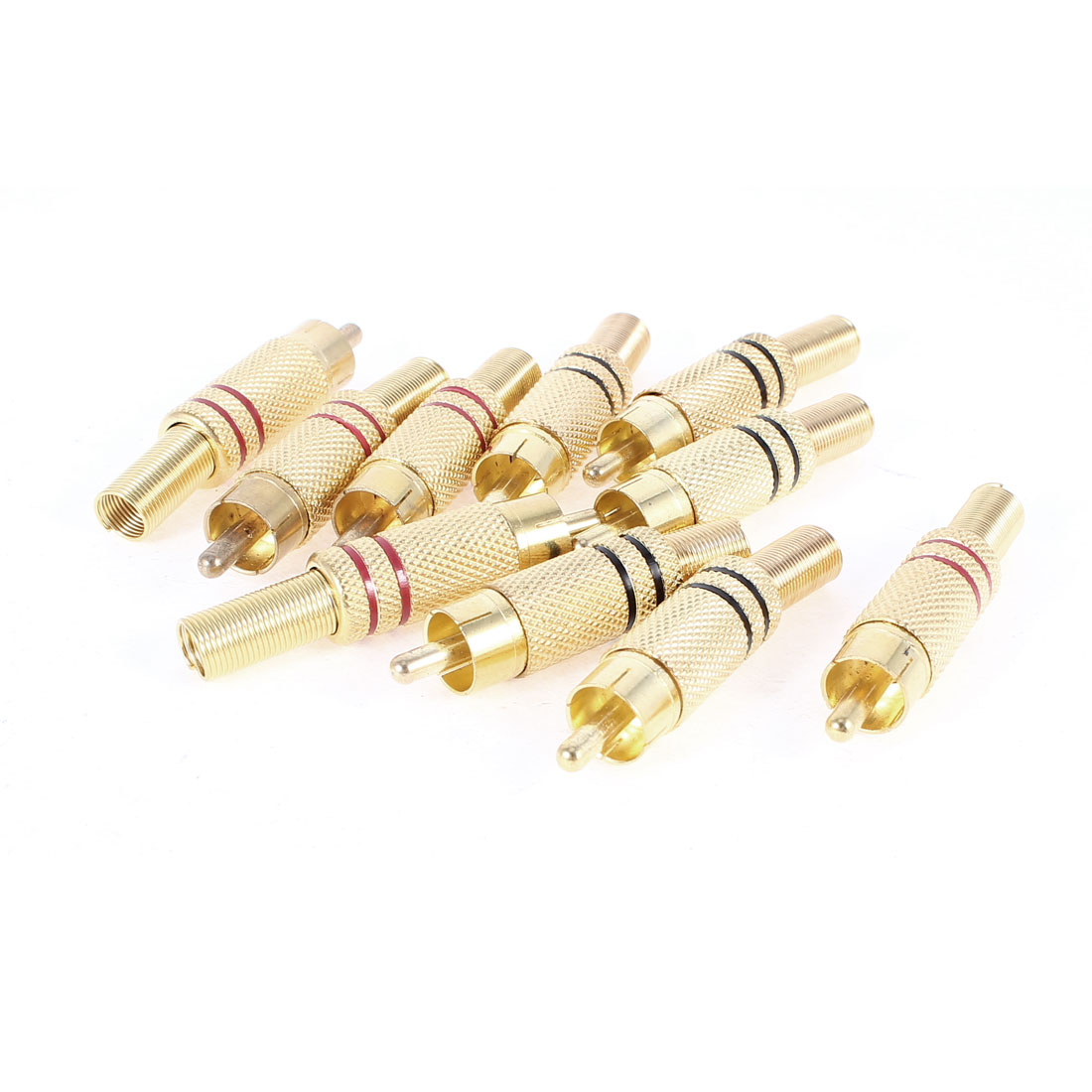 Unique Bargains 10 Pieces Gold Tone Red Black Metal Spring Head Male RCA Plug Connectors Adapter