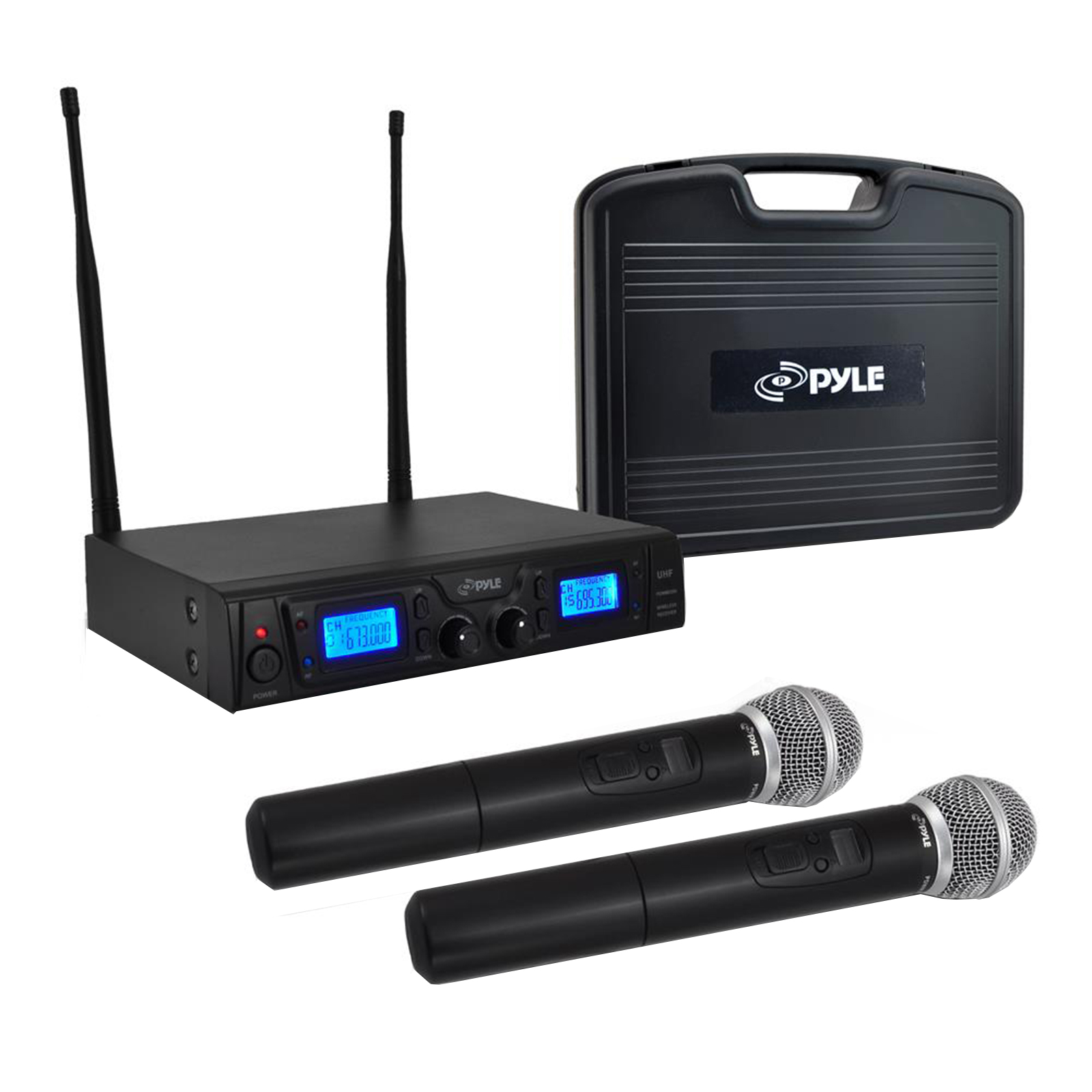 UHF Microphone System with (2) Handheld Mics, Selectable Frequency, LCD Display, Rack Mountable