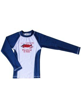 "Azul Little Boys Royal Blue 'The World Is Mine"" Swimwear Rashguard"