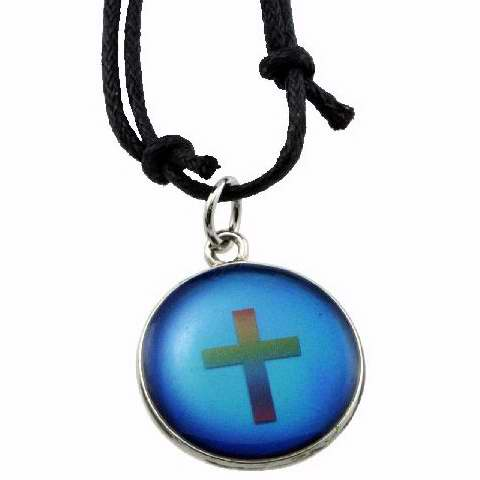 Necklace-Cross-Color Changing Epoxy-Adj Cord