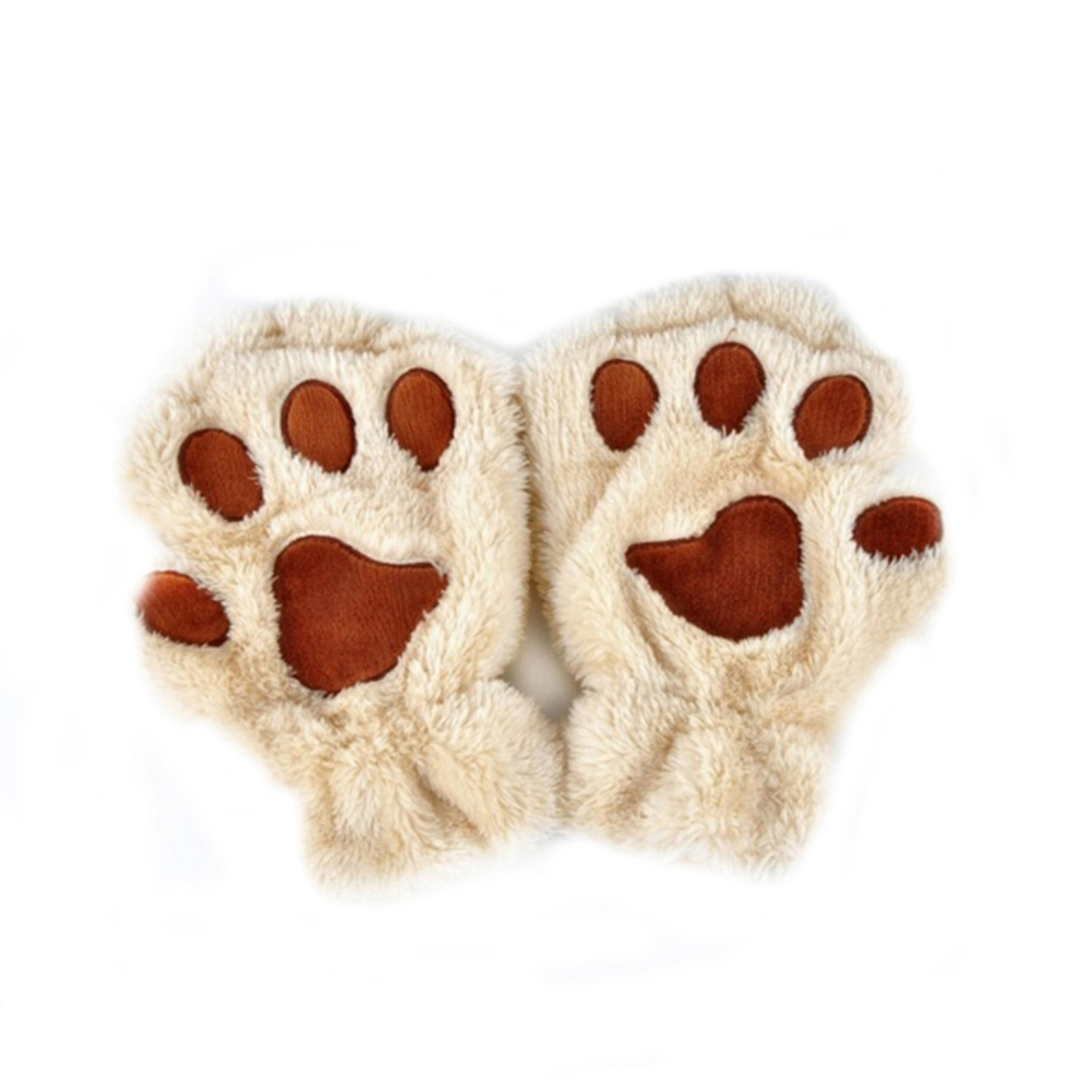 Women Cute Cartoon Cat Claw Gloves Winter Fingerless Bear Paw Half Finger Gloves