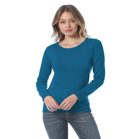 Made by Olivia Women's Soft Basic Crew Neck Classic Long Sleeve Knit Sweater Top Teal L