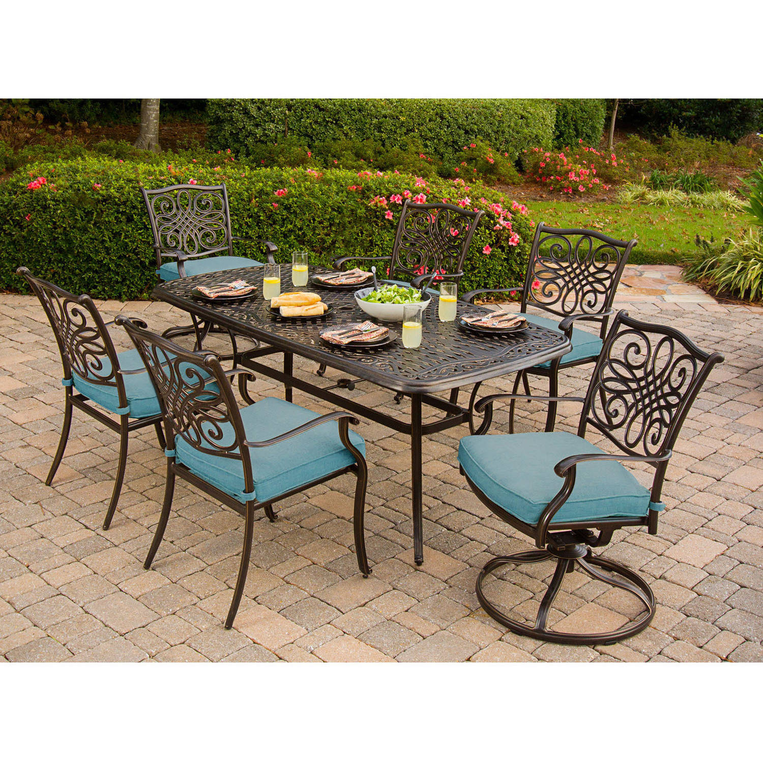 Cambridge Seasons 7-Piece Outdoor Dining Set with 4 Stationary Chairs and 2 Swivel Rockers