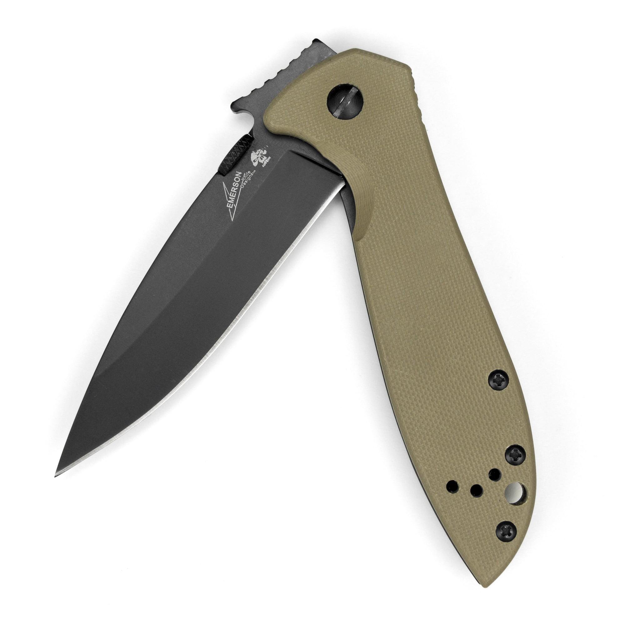 Kershaw CQC 4K (6054BRNBLK) Emerson Designed Folding Pocket Knife, 3.25-In Stainless Steel Blade, Black-Oxide Blade Coat, Wave Shaped Opening, Thumb Disk, Frame Lock, Reversible Pocketclip; 4.1 OZ