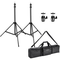 Neewer 2 Packs 75 inches/190 centimeters Adjustable Light Stands with 2 Packs 1/4-inch Screw Tripod Mini Ball Head Hot Shoe Adapters and Carrying Case for HTC Vive VR, Video and Product Photography