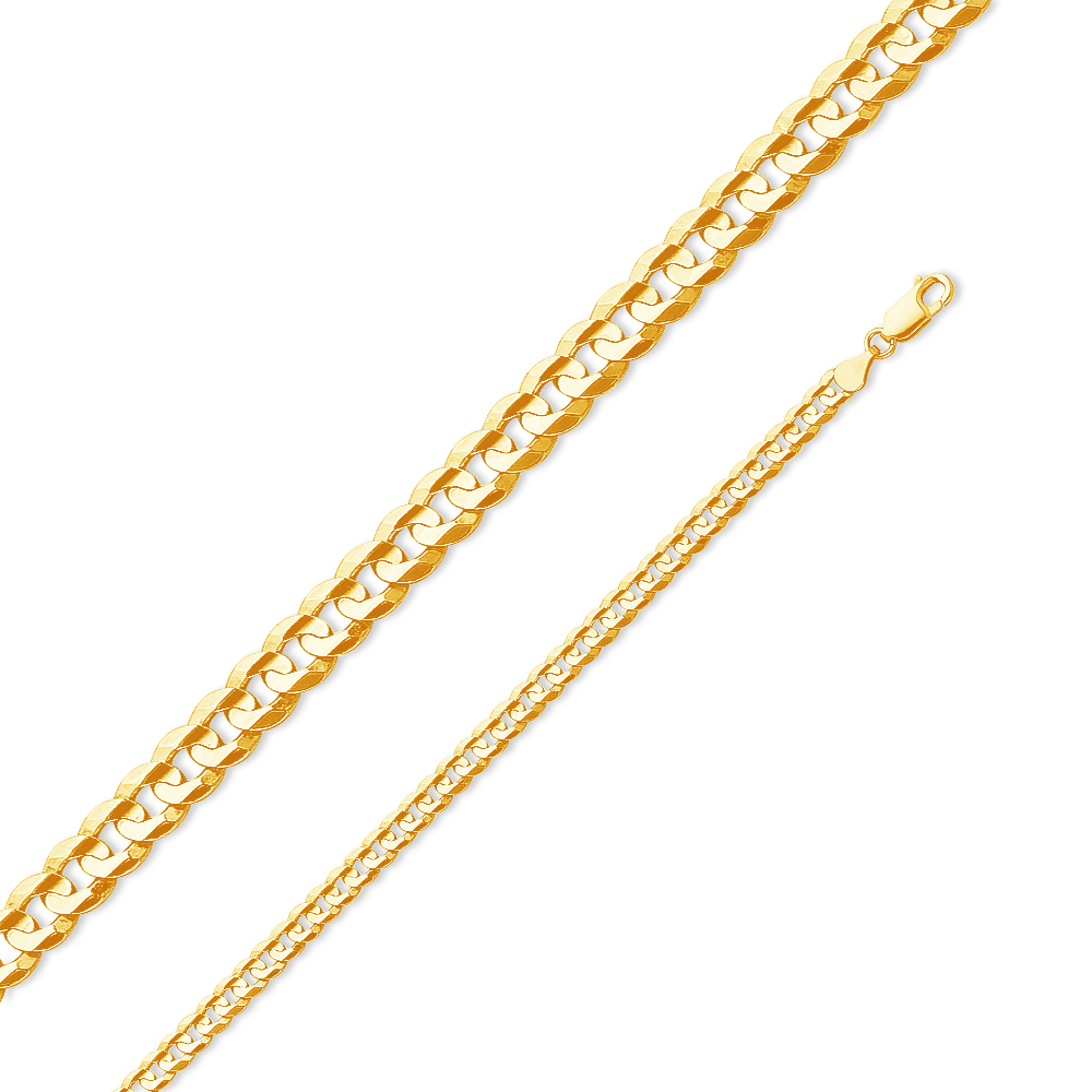 """14k Yellow Gold Solid 4.5mm Cuban Concaved Curb Chain Necklace 20"""" by AA Jewels"""