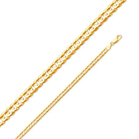 """14k Yellow Gold Solid 4.5mm Cuban Concaved Curb Chain Necklace 20"""""""