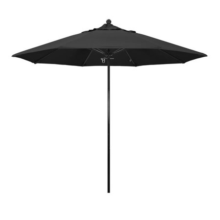 Image of California Umbrella Oceanside Series Patio Market Umbrella in Pacifica with Black Fiberglass Pole Fiberglass Ribs Push Lift