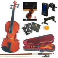 Mendini Full Size 4/4 MV200 Solid Wood Violin w/Tuner, Lesson Book, Shoulder Rest, Extra Strings, Bow, 2 Bridges & Case, Natural Varnish