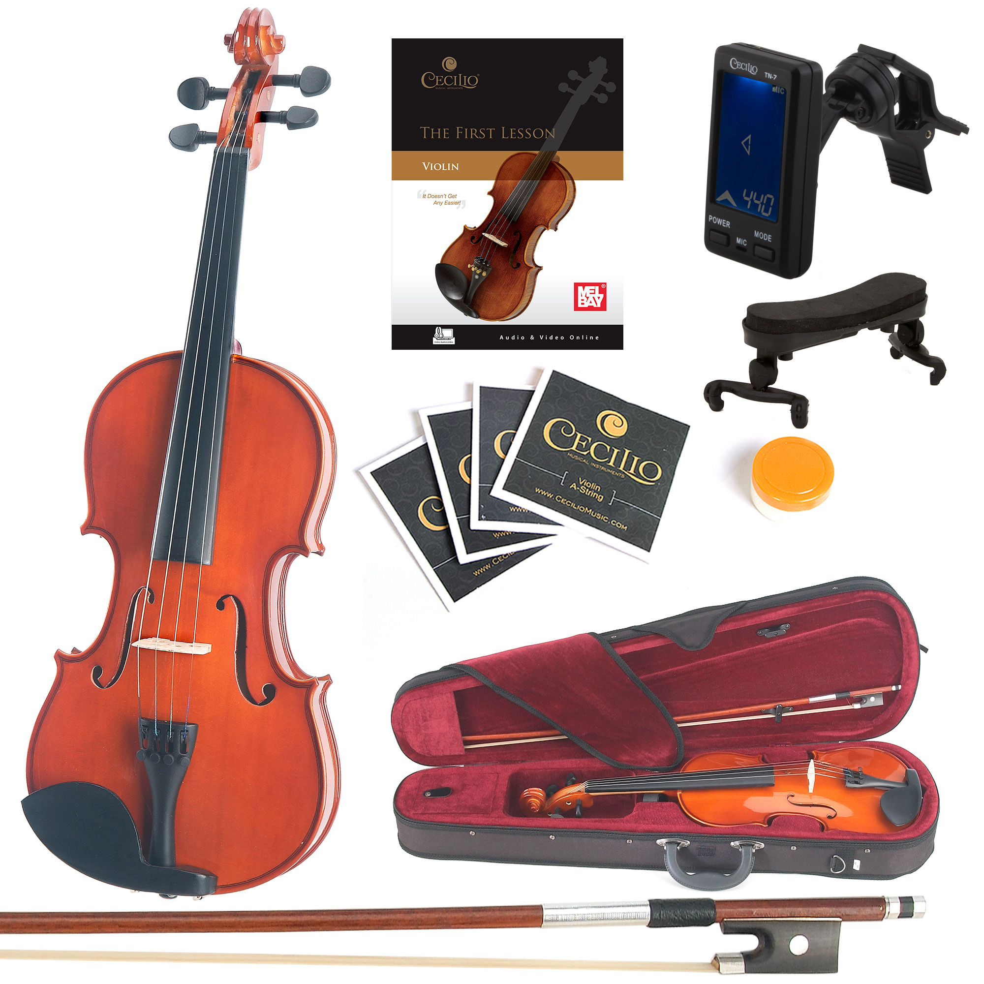 Mendini Full Size 4/4 MV200 Solid Wood Violin w/Tuner, Lesson Book, Shoulder Rest, Extra Strings, Bow, 2 Bridges & Case, Natural Varnish