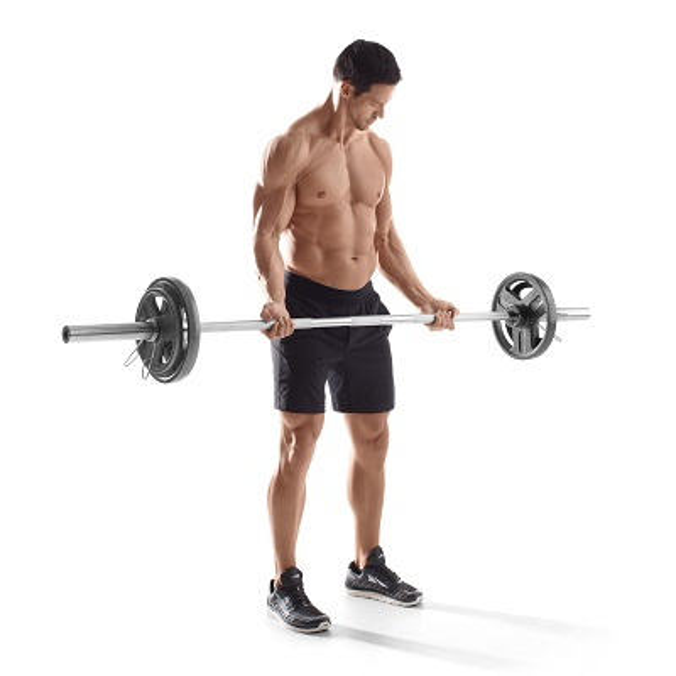 Gold/'s Gym 210lb Olympic Grip Cast Iron Weight Set 7 ft Bar Plate Lifting Collar