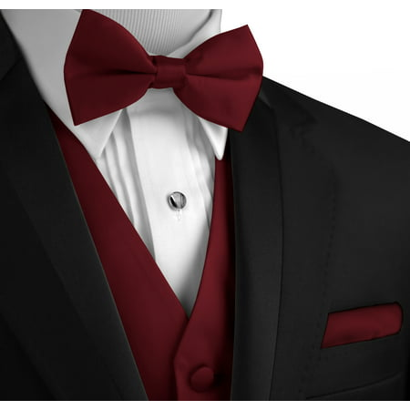 Italian Design, Men's Formal Tuxedo Vest, Bow-Tie & Hankie Set for Prom, Wedding, Cruise in Burgundy](Lloyd Tuxedo)