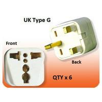 6 Pack of White US USA To UK Ireland UAE British 3 Pin Square Plug Adapter Type G Converter