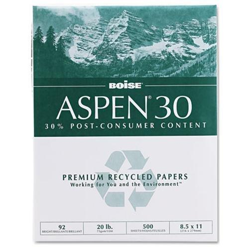 CASCADES 054901 Aspen 30% Recycled Office Paper,92 Bright, 20lb, 8-1/2 X 11, White, 5000/carton
