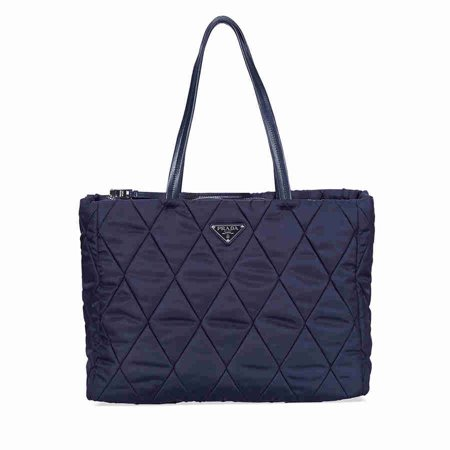 - Prada Medium Quilted Nylon Tote Bag - Navy Blue
