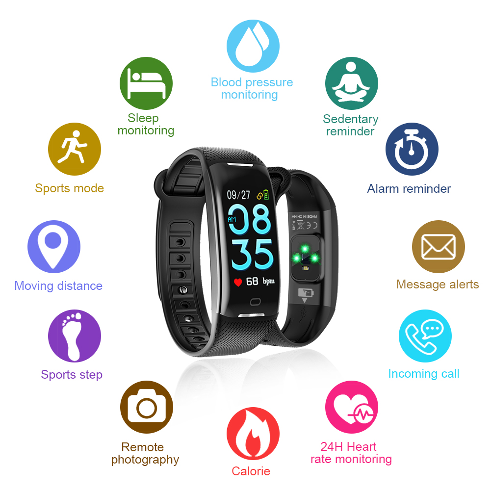 AOE Fitness Tracker with Heart Rate Blood Pressure Steps Calories Sleep Alarm Monitor Activity Tracker Waterproof Health Smart Bracelet with Call SMS Remind Pedometer Best for Kids Women Men Older