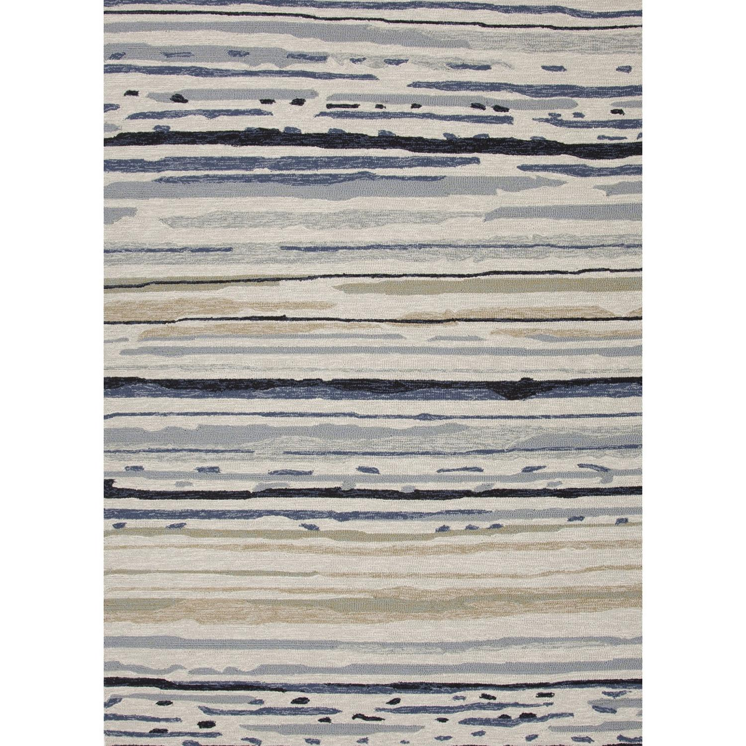 2' x 3' Blue and Ivory Sketchy Lines Outdoor Area Throw Rug