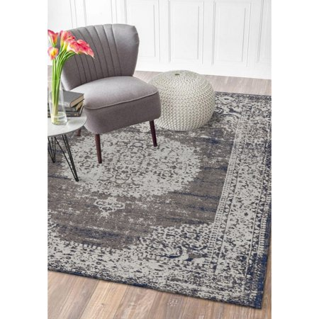 Jewel Flat Woven Oriental Border Medallion Distressed Imperial Gray Transitional / Traditional Indoor Area Rug ( 5' x 7' )