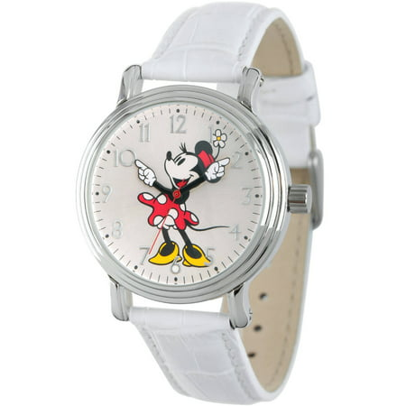 Articulating Classic Minnie Mouse Red Polka Dot Dress Women's Silver Vintage Alloy Watch, White Leather Strap