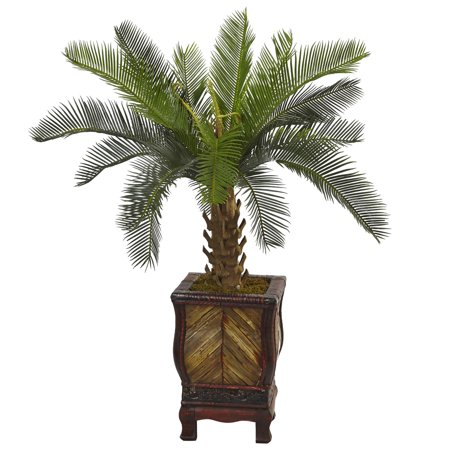Nearly Natural 3 ft. Cycas Artificial Tree in Wood Planter ()