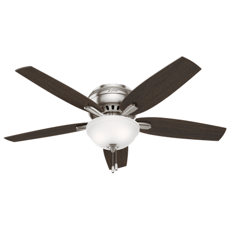 52 Hunter Newsome Low Profile Bowl Light Brushed Nickel Ceiling Fan With Kit