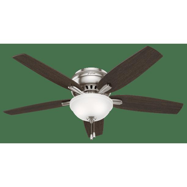 52 Hunter Newsome Low Profile Bowl Light Brushed Nickel Ceiling Fan With Light Kit Walmart Com Walmart Com