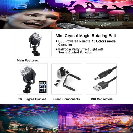 15 Colors LED USB Car DJ Disco Ball Lumiere 5W Sound Activated Projector RGBP Stage Lighting Effect Lamp Light Music Christmas KTV Party - image 1 de 7