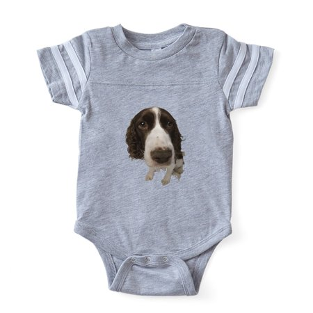 CafePress - FIN Springer Spaniel Closeup Baby Football Bodysui - Cute Infant Baby Football Bodysuit