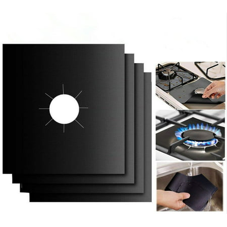 4Pcs 0.3mm Double Thickness Reusable Gas Stove Burner Covers Gas Range Protectors
