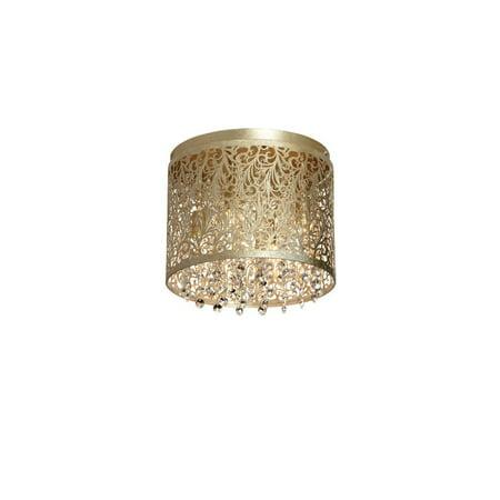 Floral Pattern Crystal - Dainolite 4 Light Flush-Mount Crystal w/ Floral Pattern - Gold