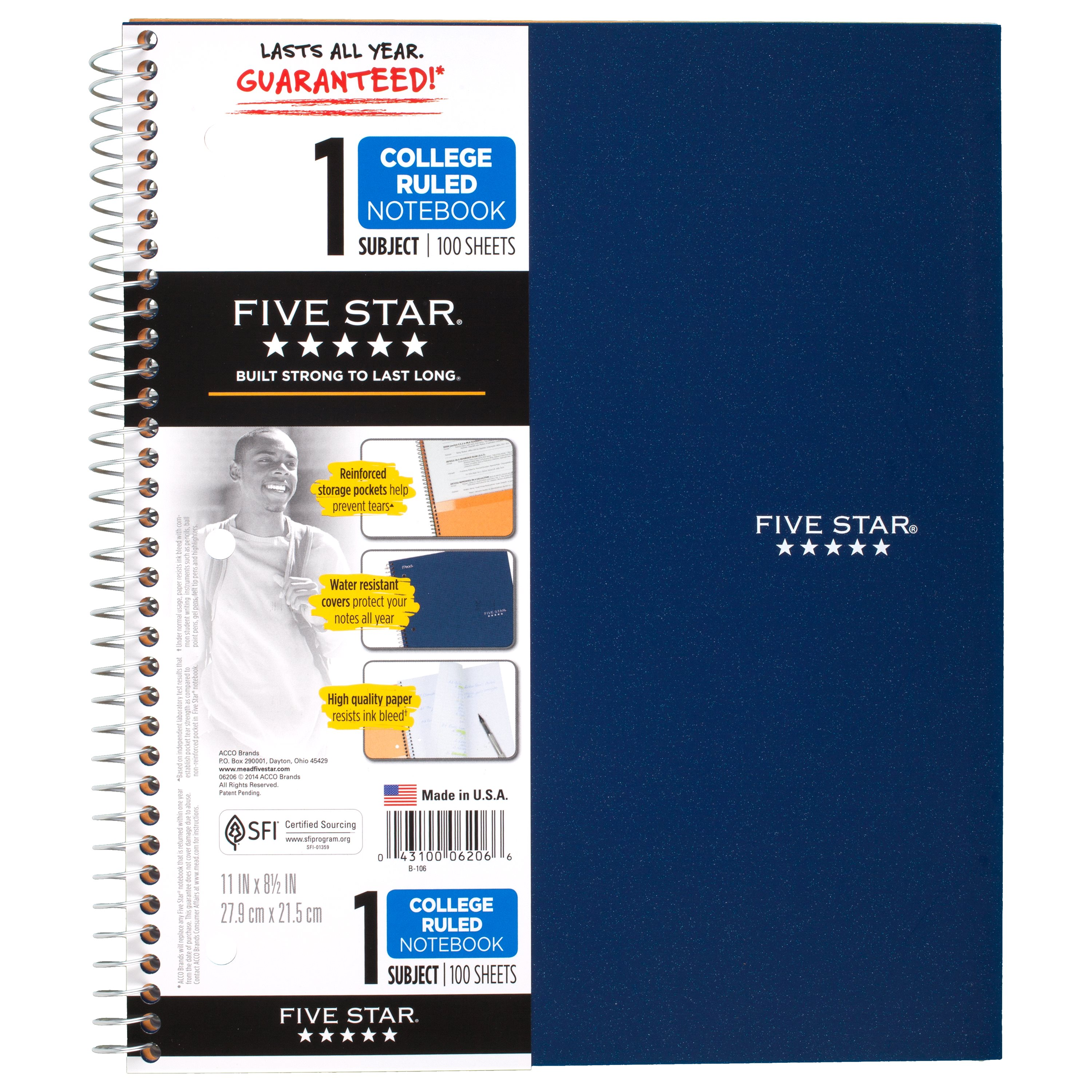 "Five Star Wirebound Notebook, 5 Subject, College Ruled, 11"" x 8 1/2"", Blue"
