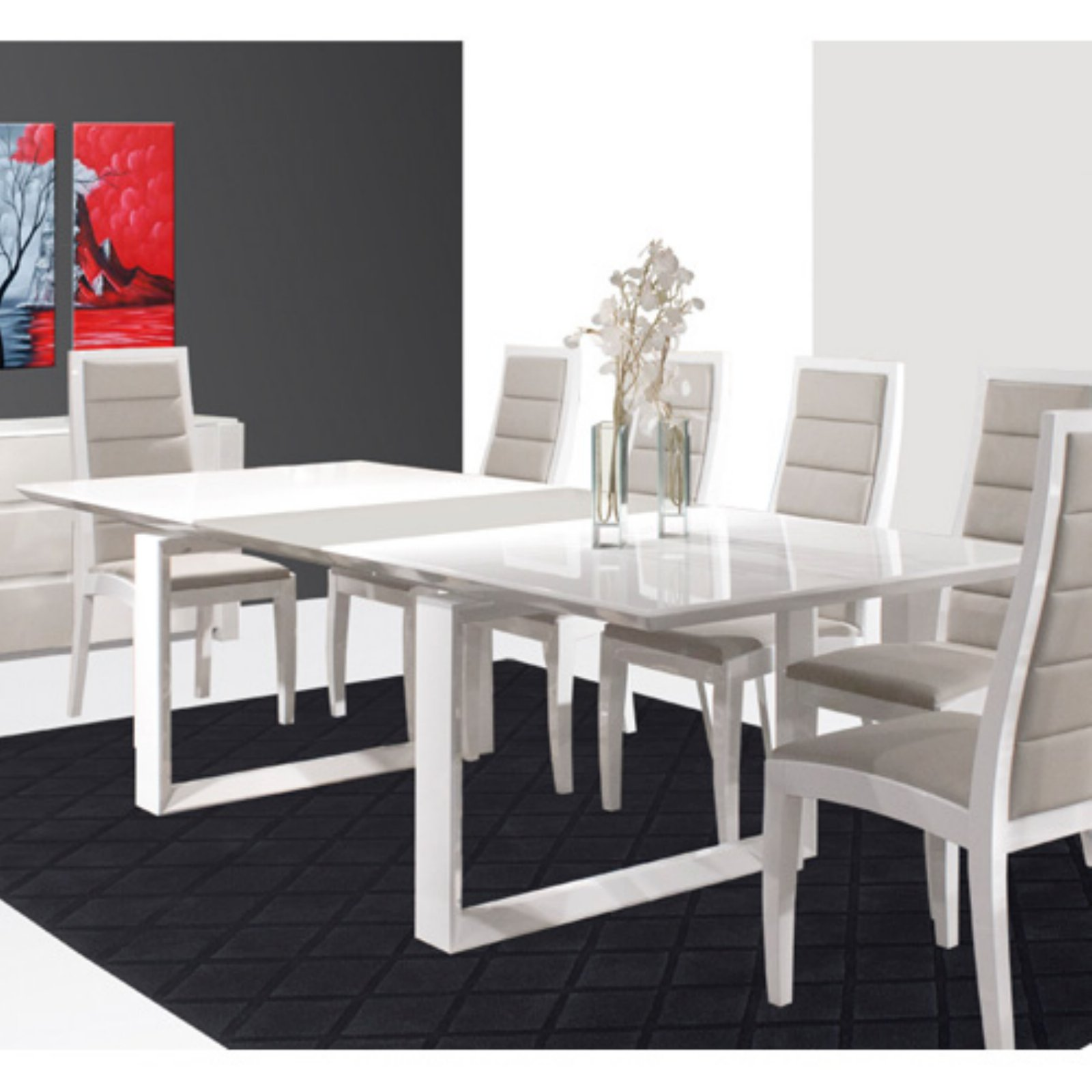 Natalia Rectangular Dining Table - White Lacquer