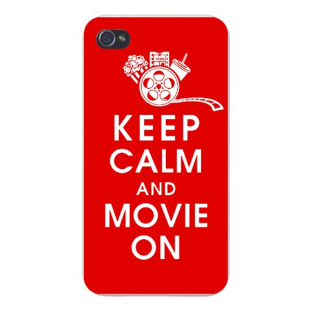 Apple Iphone Custom Case 4 4s White Plastic Snap on - Keep Calm and Movie On w/ Movie Reel, Popcorn, Ticket, & Beverage on Red