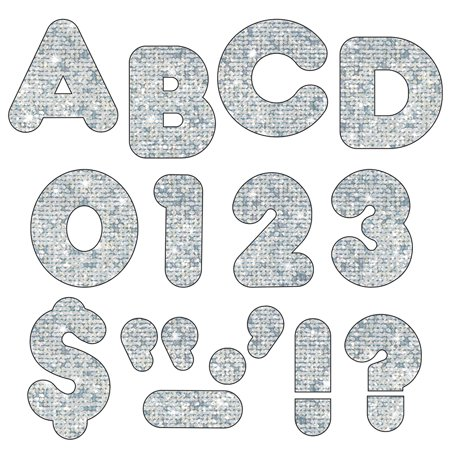 READY LETTERS 2 INCH CASUAL SILVER SPARKLE