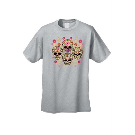 Men's T-Shirt Four Flowered Sugar Skulls Katrinas Skeleton Grim Reaper Tee](Skeleton Shirts)
