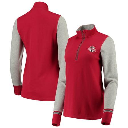 Toronto FC Antigua Women's Pitch 1/4-Zip Raglan Pullover Jacket - Red/Heathered Gray ()