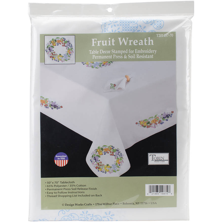 "Stamped White Tablecloth for Embroidery, 50"" x 70"", Fruit Wreath"