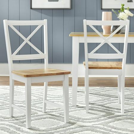 Virginia Cross-Back Chair, Set of 2, White/Natural Chain Platinum Cross