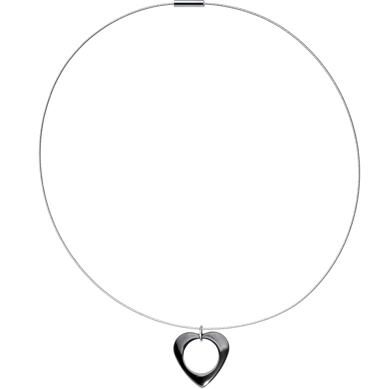 """Steel Wire Hemalyke Hollow Heart Choker Pendant Necklace, 17.5"""""""