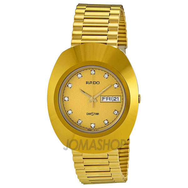 Rado Diastar All Gold Tone Stainless Steel Mens Watch R12...