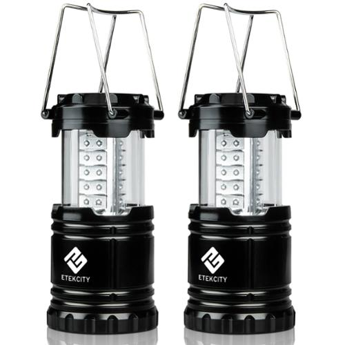Etekcity LED Camping Lantern Gear Collapsible Design Black 2-Pack (Battery Included)