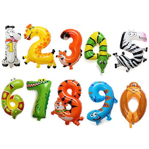 Girl12Queen Animal Number Foil Balloons Kids Party Birthday Wedding Décor Ballon Child Gift