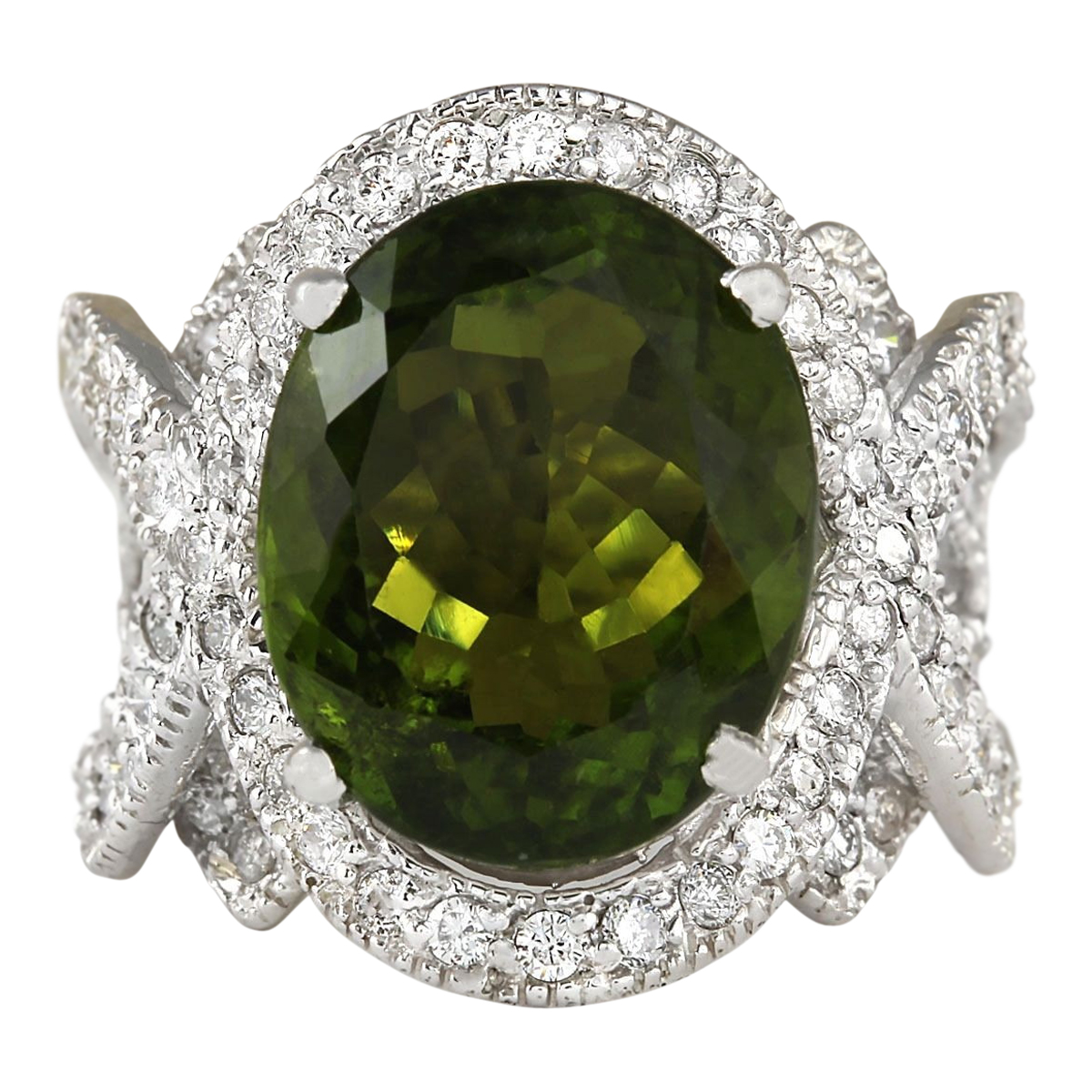 12.80 CTW Natural Green Tourmaline And Diamond Ring 14k Solid White Gold by
