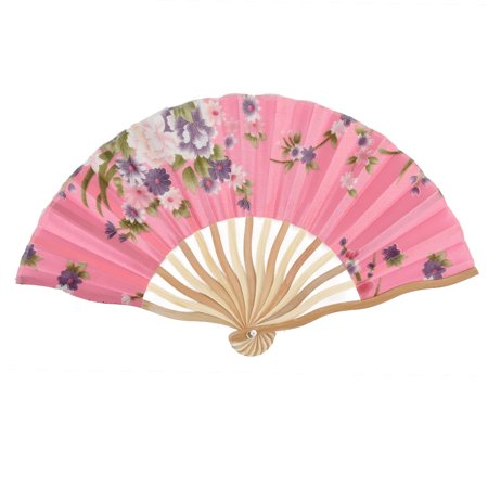 Summer Bamboo - Summer Cool Bamboo Blossomy Pattern Portable Folding Hand Fan Pink w Bag