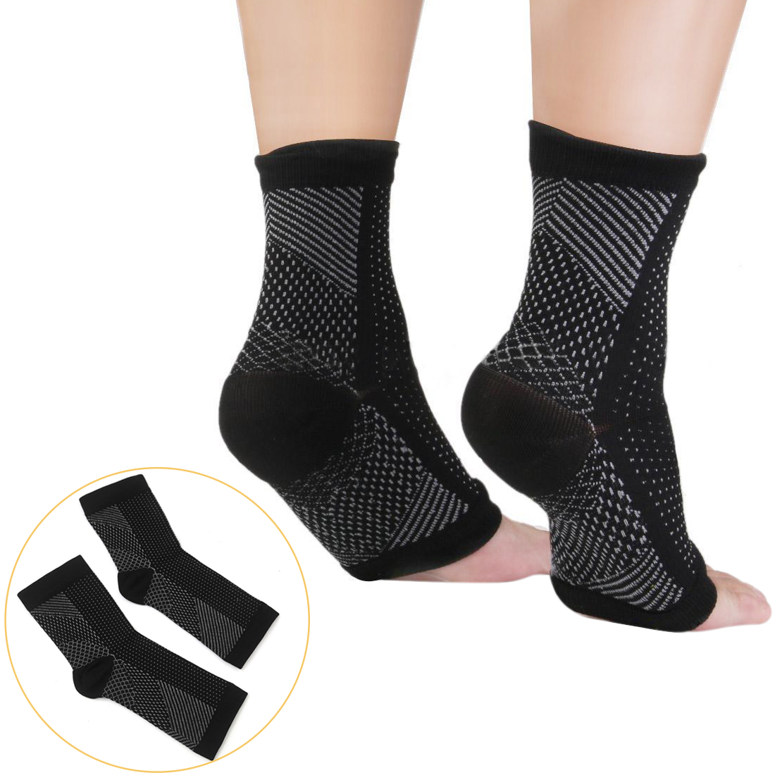 L/XL Pairs Plantar Fasciitis Foot Pain Support Arch Heel Ankle Compression Socks Sleeve