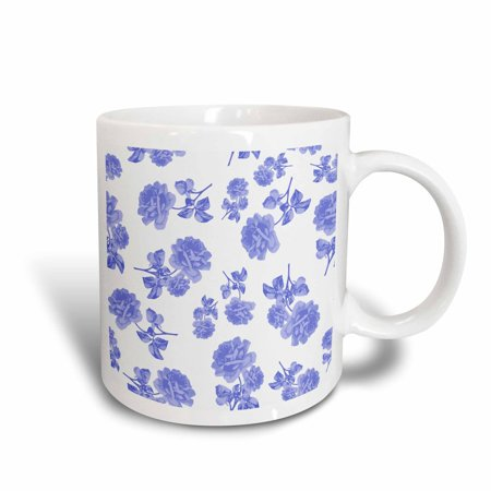 3dRose Blue and White Flower pattern inspired by oriental porcelain and delft, Ceramic Mug, 11-ounce