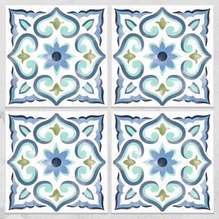 Spanish Tile White Blue Sticktiles 4 Pack